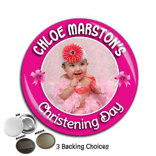 Large 75mm Personalised Girls Christening Baptism PHOTO Badge N31